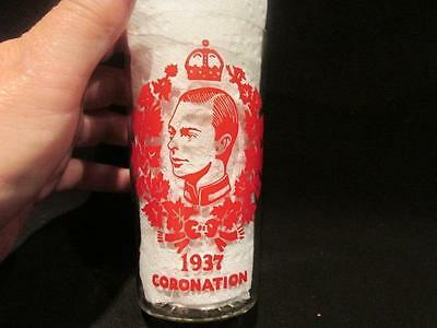 Edward VIII Coronation 1937 Clear Glass Drinking Tumbler with Red Portrait