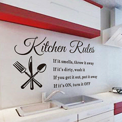 DIY Removable Art Vinyl Quote Wall Sticker Mural Kitchen Rules Decal Home Decor