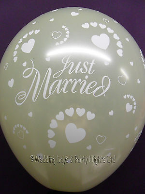 """20 Pearl Ivory Just Married & Hearts Helium/Air 11"""" Balloons Wedding Decorations"""