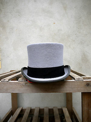 "Ascot Grey Fur Felt Morning Top Hat by Christys' 5 1/4 "" standard crown height"