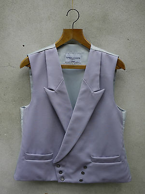 Grey Double-Breasted Morning Waistcoat by Lipman-Peak Lapel 100% Wool 36in - 56""