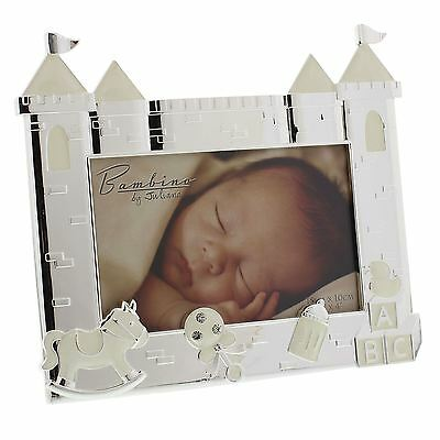 Bambino by Juliana Silver Plated Cream & Silver Plated Baby Photo Frame Castle