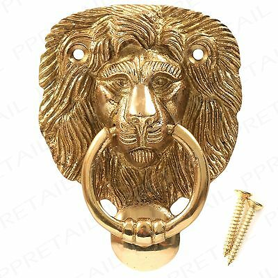 Lion Head Brass Door Knocker 92mm ~HIGH QUALITY~ Front Main Classic Victorian