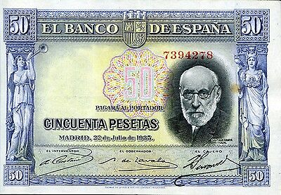 SPAIN 50 Pesetas 1935 P-88 EF Blue note color altered with chemicals
