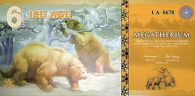 ICE AGE 6 Dollars Megatherium 2015 UNC uncirculated banknote