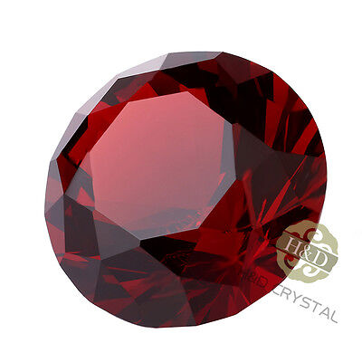 30mm Red Cut Crystal Diamond Shape Paperweight Glass Gem Display Ornament Gift