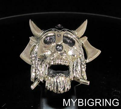 Bronze Men's Ring Viking Skull Warrior Crossed Axes And Beard Antiqued Any Size