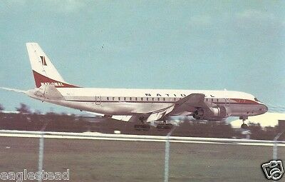 Airline Postcard - National - DC-8 - Landing - Point Right (P1128)