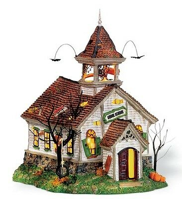 Dept 56 SV GHOUL SCHOOL  Halloween snow village house NRFB RETIRED free ship