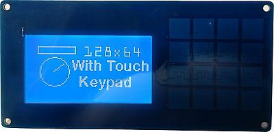 I2C & Serial 128x64 display and 16 way Keypad Front Pack for Arduino, Rpi Blue