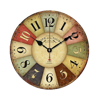Vintage European Colourful French Country Tuscan Style Paris Wood Wall Clock
