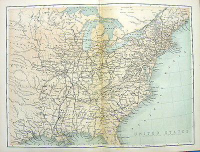 1880 Engraved Color Print MAP OF EAST COAST EASTERN UNITED STATES 13 COLONIES