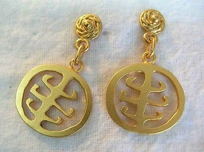24K Gold Plated Precolumbian Pectoral Dangle Earrings Gold Museum Colombia Relic