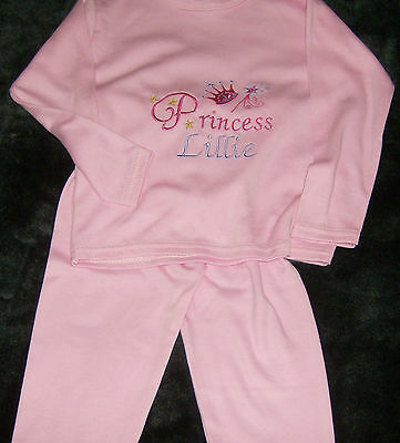 Personalised Baby Girl Pyjamas Princess theme embroidered Pink 6 - 12 months