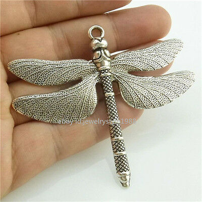 14807*4PCS Silver Vintage Large Animal Insect Dragonfly Pendant Alloy Antique