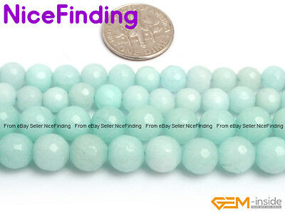 """Faceted Round Amazonite Blue Jade Loose Beads For Jewellery Making Gemstone 15"""""""