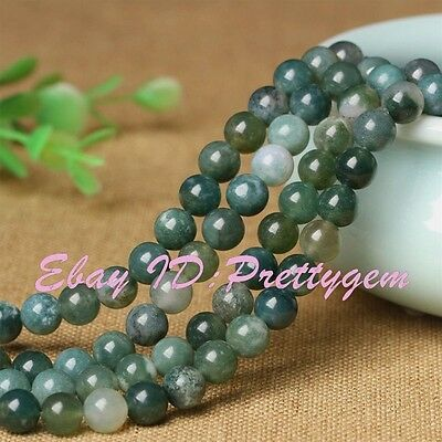 2,3,4,6,8,10mm Natural Green Smooth Round Moss Agate Gemstone Beads Strand 15""