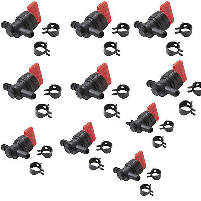 "10 X 1/4"" InLine Straight Gas Fuel Cut Shut Off Valve W/Clamps Briggs & Stratton"