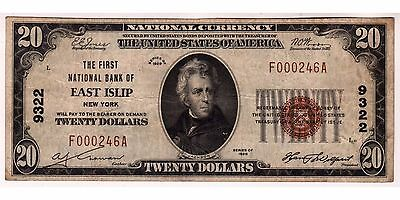 $20 1929 The First National Bank of East Islip, LONG ISLAND NY CH# 9322 VF