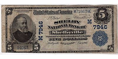 $5 1902 Plain Back The Shelby National Bank of Shelbyville, IN CH# 7946