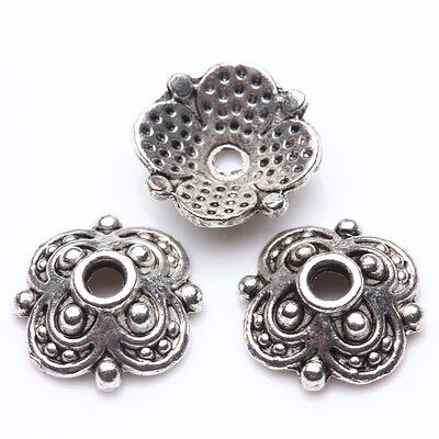 50Pcs Tibet Silver Plated Flower Spacer Bead Caps Jewelry Findings DIY 10X3mm