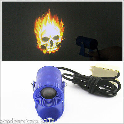 3D Skull Head Fire Ghost Emblem Logo Motorcycle LED Projection Lamp For Kawasaki