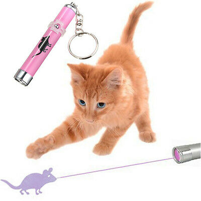 Pet Dog Cat Toys Laser Pointer LED Light Mouse Bright Animation Key Chain Cool