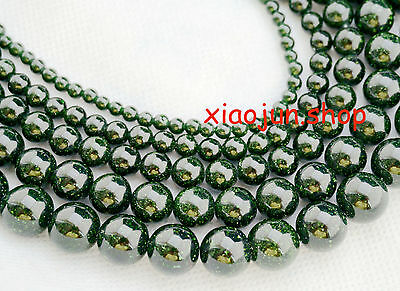 """4,6,8,10,12mm Green GOLDSTONE Round Gems Loose Beads 15"""" Choose  Size"""