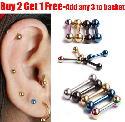 Forward Helix Ball Cartilage Piercing 316L Surgical Steel Stud Tragus Earring