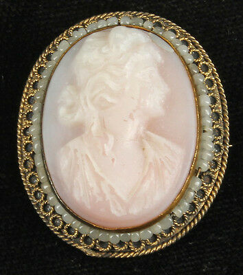 Antique Deco Oval Spelter Gold Pink Glass Cameo & Seed Bead Oval Pin 1 1/4""