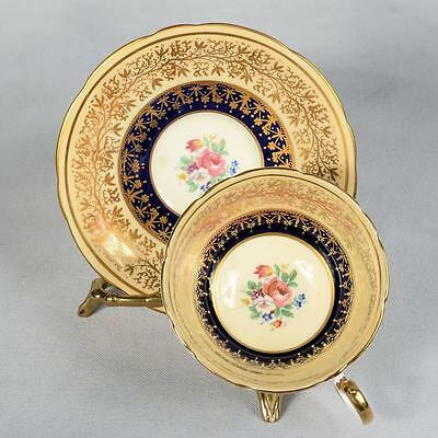Aynsley Teacup & Saucer - White/ Yellow & Cobalt Blue/golded Designs