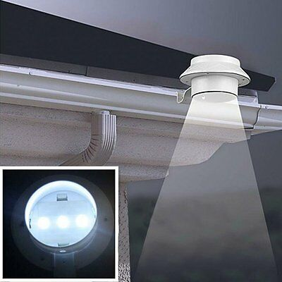 Solar Powered LED Fence Gutter Light Outdoor Garden Yard Wall Roof Pathway Lamp