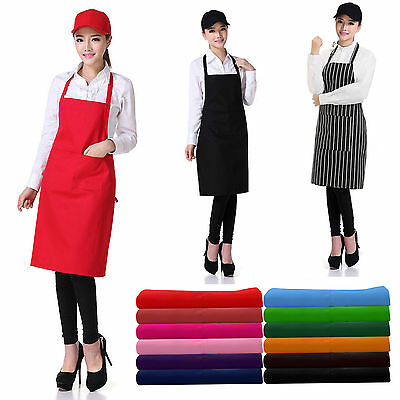 Plain Apron + Pocket for Chefs Butchers BBQ Kitchen Cooking Craft Black Blue Red