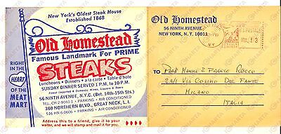 1969 NEW YORK Steak House OLD HOMESTEAD Biglietto pubblicitario con menù VG
