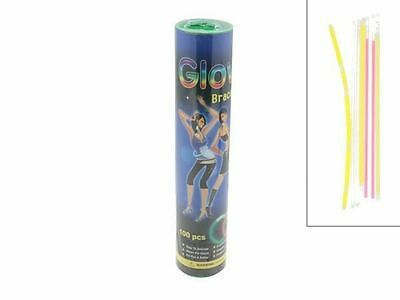 1 Pack of 100 Glowsticks In Tube & Connectors 20Cm 6 Asst Colours Party Rave