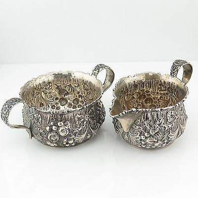Duhme & Co. Sterling Silver Antique Outstanding Ornate Design Milk & Sugar Bowls