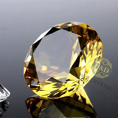 40mm Yellow Crystal Diamond Shaped Paperweight Glass Gem Display Ornament Gift