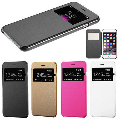 For Apple iPhone 5s 6 / 6 plus Leather Wallet View Window Skin Flip Case Cover