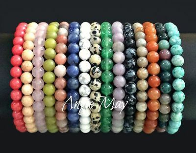 New! Wholesale Lot* 10 Genuine Gemstone 6mm Round Bead Stretch Bracelets