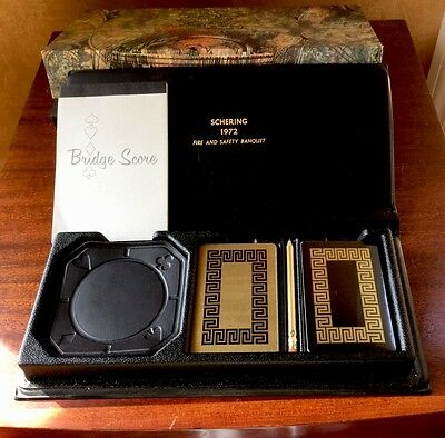 VINTAGE 1972 Schering Corporation Playing Cards Gift Box Set With Coasters