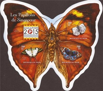 Niger - 2015 Butterflies on Stamps - 3 Stamp Sheet - 14A-601
