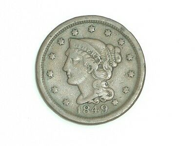 Braided Hair Large Cent 1849 Fine Condition [L-151]