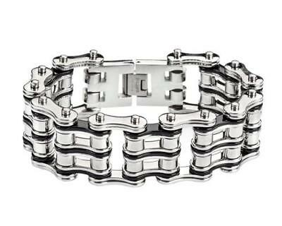 """Patented Motorcycle 1"""" Wide Chain Bracelet 9"""" Length Black Silver Stailness"""