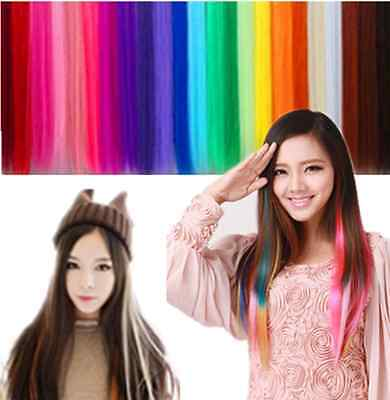 Fashion Multi Color Hair Extension Piece Clip On Hair Long Synthetic Hair CAD EF