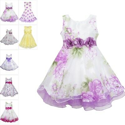 US STOCK Girls Dress Knitted Cotton Stretch Tulle Overlay Flower Size 4-10