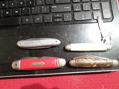 4 Vintage Pocket Knives L.F. & Co- The Ideal- Hammer Brand- Colonial Trick Knife