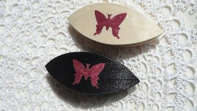 """Beautiful pair of hand made wooden tatting shuttle with butterfly 2.5"""" 2."""