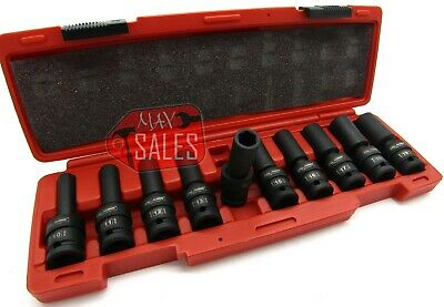 "10Pc 1/2"" Drive Universal Swivel Deep Impact Socket Set (METRIC) PRO Radius Set"