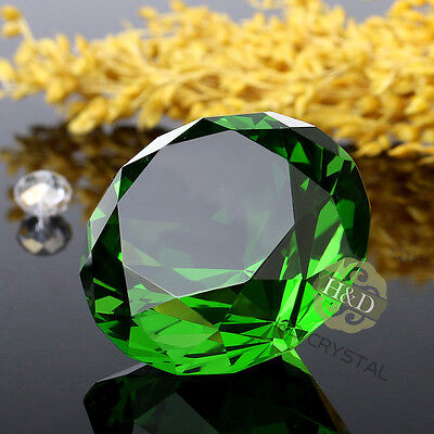 40mm Green Cut Crystal Diamond Shape Paperweight Glass Gem Display Ornament Gift