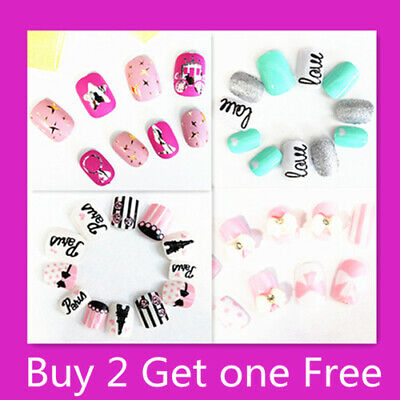 20/24 PC (2 sets in 1 pack) Girls Acrylic Fake Nail Tips With Press On Glue 3
